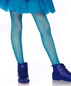 Girls Neon Blue Fishnet Tights
